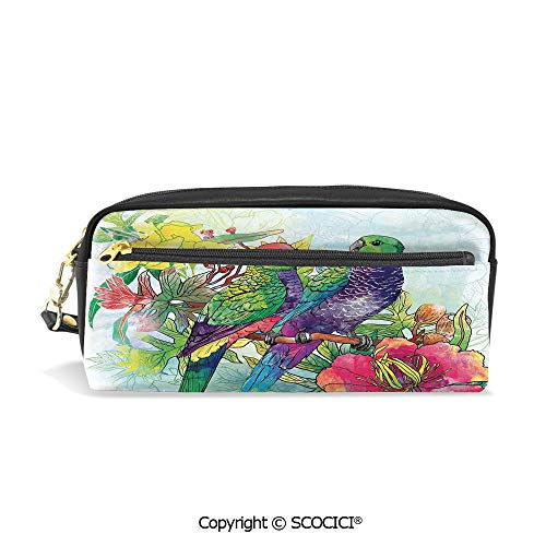 Girls Boys 3D Printed PU Pencil Case Holders Bag with Zipper Faded Flowers and Love Parrots Botanical Flora with Romantic Orchids Wings Boho Artful Work Stationery Makeup Cosmetic Bags Back to ()