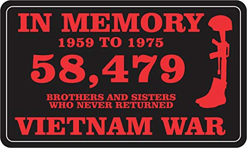 Military Vet Shop US Army in Memory 58,479 Vietnam War Window Bumper Sticker Decal 3.8
