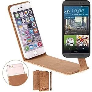 Caso de corcho cubierta del tirón para HTC One M9, marrón. cáscara protectora caja case cover - K-S-Trade (TM)