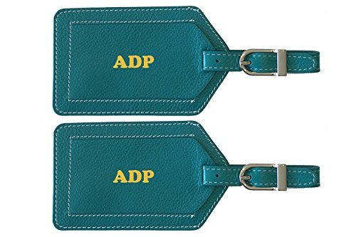 Personalized Monogrammed Teal Leather Luggage Tags - 2 Pack