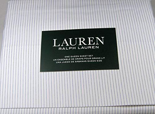 Lauren 4 Piece Queen Size Striped Sheet Set 100% Cotton White and Navy