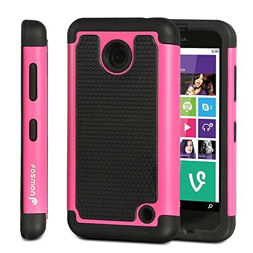 Fosmon HYBO-Hexagon Hard PC + Shock Absorbing Silicone Hybrid Case for Nokia Lumia 635 (Hot Pink)