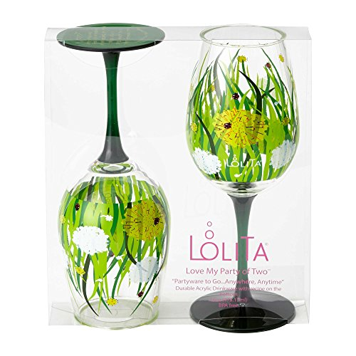 (Love My Party of Two Wine Glasses Set with Westwood Gourmet Bottle Opener (Dandelion))