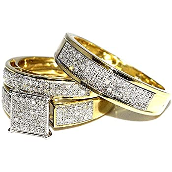 Amazon His Her Wedding Rings Set Trio Men Women 10k Yellow