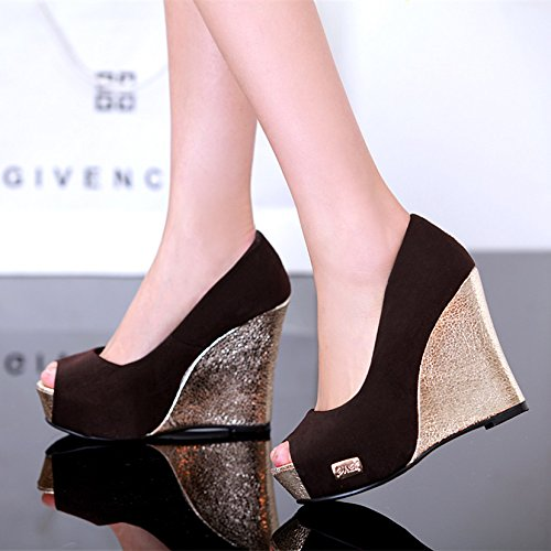 AJUNR Moda/Elegante/Transpirable/Sandalias 12cm los Zapatos de Tacón Alto Impermeables Zapatos Gruesos la Pendiente de los Peces Black