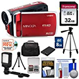 Minolta MN50HD 1080p HD Video Camera Camcorder (Red) with 32GB Card + Battery + Tripods + Case + LED Light + Kit