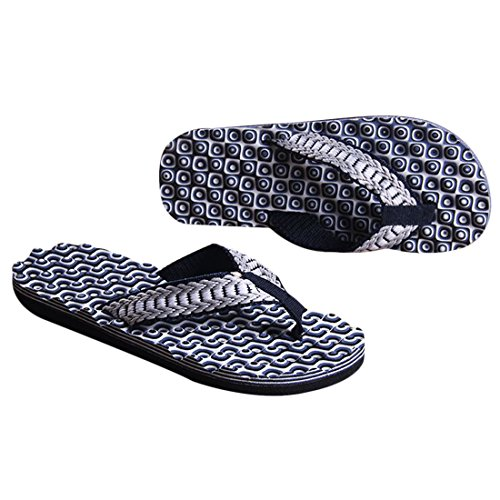 Voberry Hommes Été Confortable Massage Flip Flops Chaussures Sandales Pantoufle Mâle Intérieure Et Extérieure Flip-flops Bleu