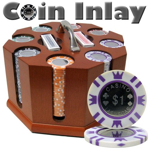 200 Ct Coin Inlay Poker Chip Set w/ Wooden Carousel 15 Gram Chips by - 200 Coin
