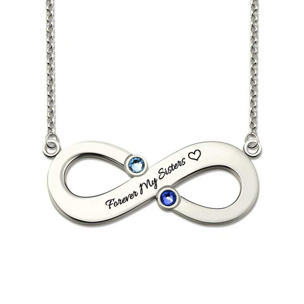 Top WH Personalized 925 Sterling Silver Infinity Pendant Necklace Free Engraving Any Text Necklace with 2 Birthstones