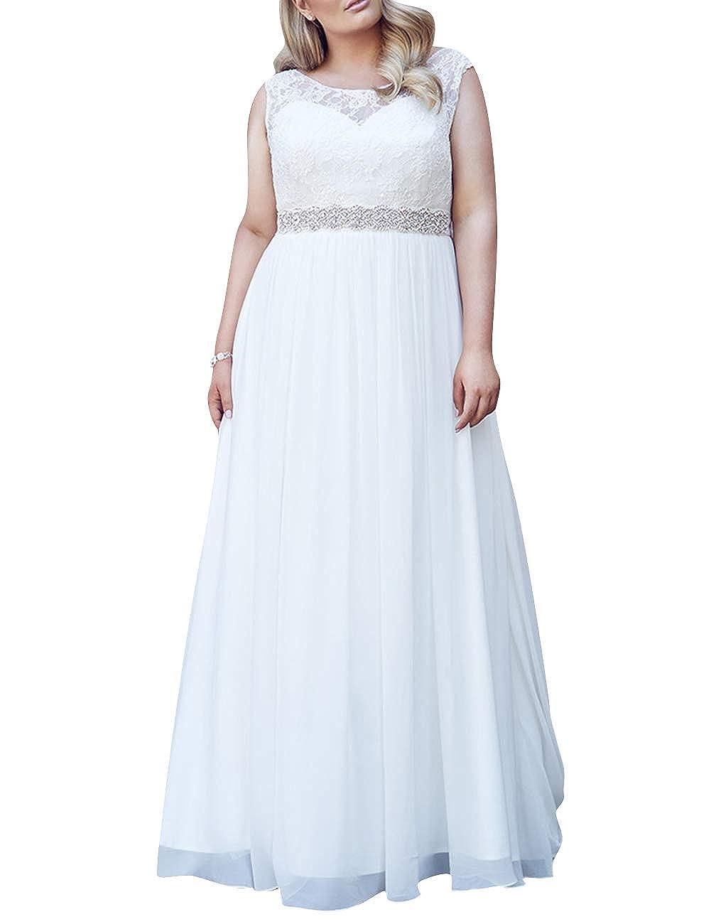Wedding Dress Plus Size Lace Bride Dresses Crystal Sash ...