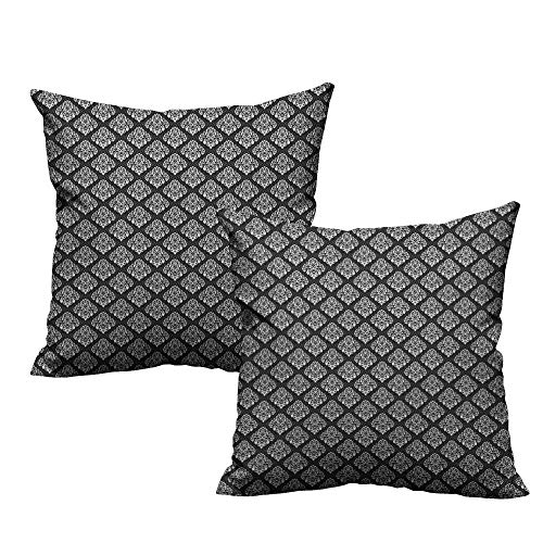 RuppertTextile Personalized Pillowcase Damask Classic Timeless Foliage Leaves with Victorian Inspired Swirls and Curls Mildew Proof W20 xL20 2 pcs