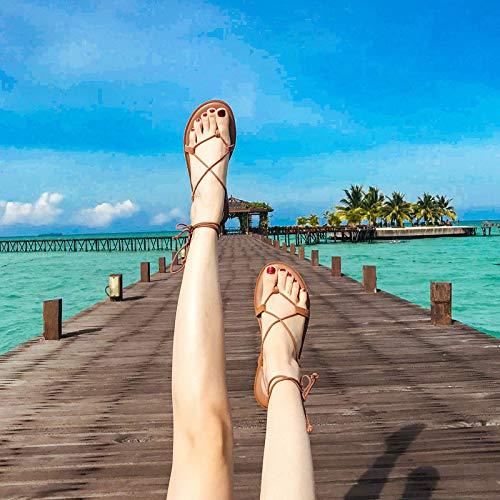 Shukun Sandalen für Damen Sandalen weibliche Sommer Fee Wind Wind Wind am Meer Urlaub römische Schuhe Riemen flach unten böhmischen Prise Strandschuhe  828551