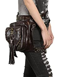 Steampunk Skull Waist Bag Women Gothic Tassels Leather Leg Cross Body Bags