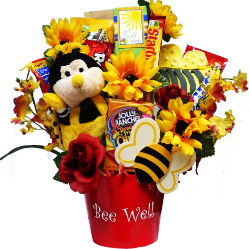 Art of Appreciation Gift Baskets Bee Well Soon Chocolate and Candy Bouquet with Flower Cookie Gift Set
