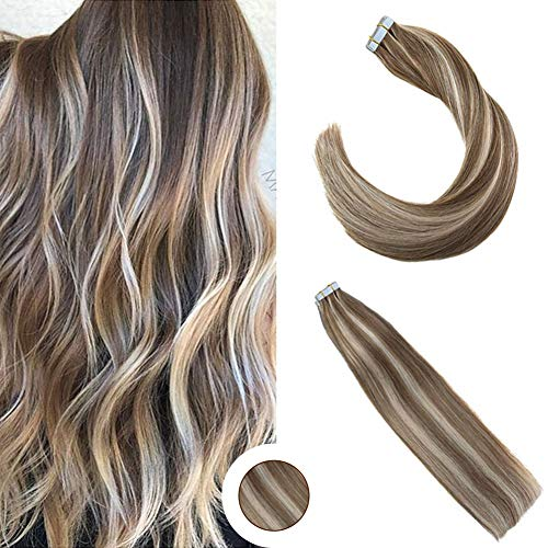 (Ugeat 18 Inch Hair Extensions Tape Human Hair 2.5g/pcs 50g/Package Light Brown with Light Blonde Tape in Human Hair Extensions)