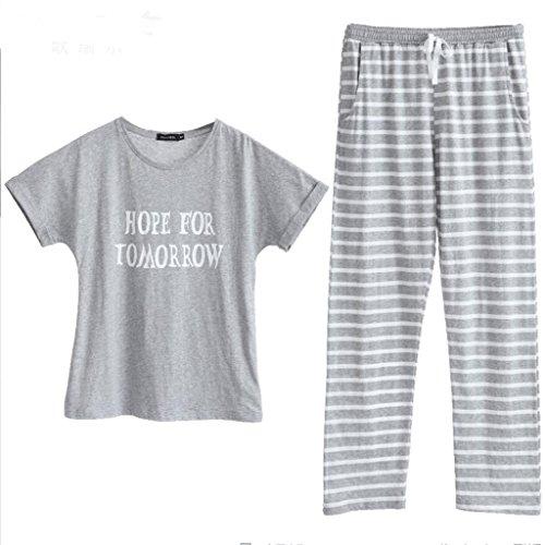 インスタントマサッチョもう一度GAODUZI 春甘いファッション半袖パジャマ快適なコットンレディース服スーツアンダーウェア(パジャマ+パンツ)