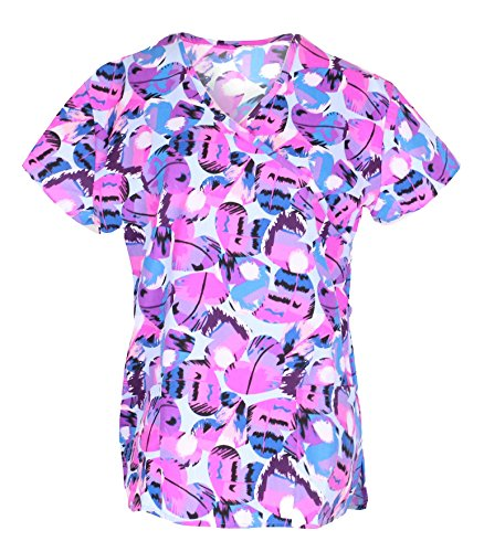 G Med Women's Printed Mock Wrap 2 Pockets Fashion Scrub (Two Pocket Mock Wrap)