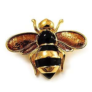 Prendedor abeja enchapado de oro (negro y marrón claro)