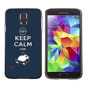 Caucho caso de Shell duro de la cubierta de accesorios de protección BY RAYDREAMMM - Samsung Galaxy S5 - Guarde la calma y el sueño