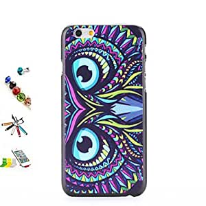 QJM Blue Eyes Pattern Painted PC Shell And Touch Pen Dust Plug Bracket Combination for iPhone 6
