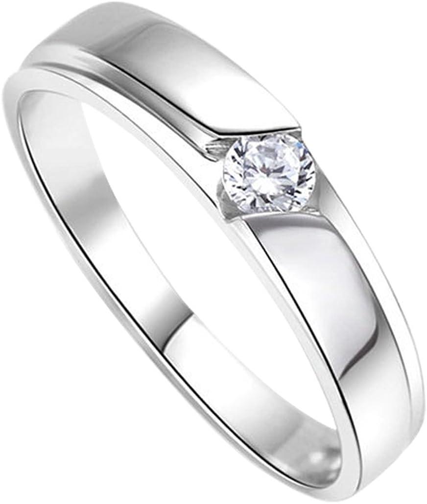 DEHANG Anillo de Plata de Pareja Mujer Hombre con Circonitas Diamantes de Compromiso Alianza Boda Aniversario regalo San Valentín Amor - talla 9 12 14 17 19 22 - con caja de regalo