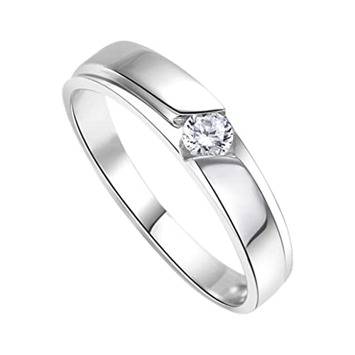 df15f5978f03 DEHANG Anillo de Plata de Pareja Mujer Hombre con Circonitas Diamantes de  Compromiso Alianza Boda Aniversario regalo San Valentín Amor - talla 9 12  14 17 19 ...