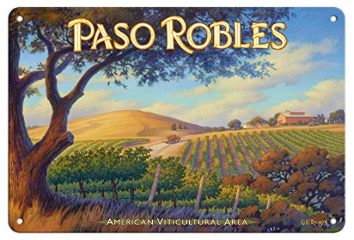 Pacifica Island Art 8in x 12in Tin Sign - Paso Robles Wineries - San Luis Obispo by Kerne Erickson