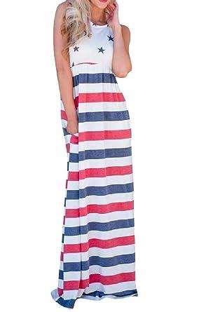 f92dc47946 Yusky Womens July 4th Sleeveless Summer Tunic Patriotic Maxi Dress at  Amazon Women s Clothing store