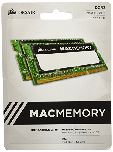 Corsair CMSA8GX3M2A1333C9  Apple Certified 8GB (2x4GB)  DDR3 1333 MHz (PC3 10666) Laptop Memory 1.5V (13 Laptop Inch Imac)