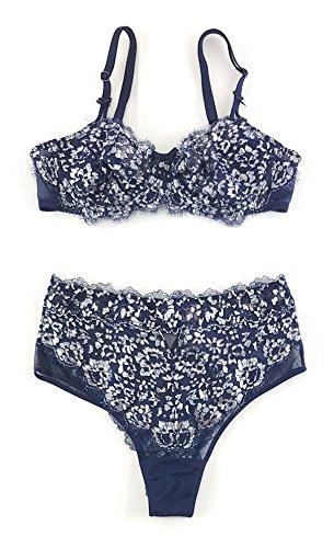 Victoria's Secret Dream Angels Bra and High Waist Cheeky Panty Set 34B Small Navy Silver (Bra And Thong Set Victoria Secret)
