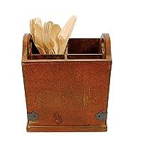Soporte para utensilios de madera Creative Co-Op con 4 compartimentos