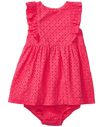 Ralph Lauren Baby Girl Cotton Eyelet Dress & Bloomer Set Ultra Pink (3 Months) ()