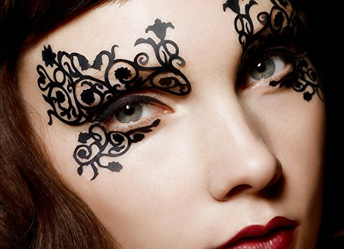 Eye Tattoo Sticker Halloween Lace Squishy Eyes Liner Fretwork Masquerade Papercut Temporary Face]()