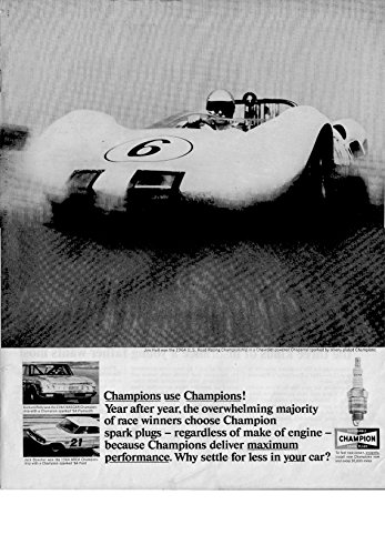 1964 Jim Hall Chevy Chaparral Champion Spark Plug Original 13.5 * 10.5 Magazine Ad