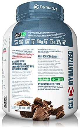 Dymatize ISO 100 Whey Protein Powder with 25g of Hydrolyzed 100 Whey Isolate, Gluten Free, Fast Digesting, Natural Chocolate, 5 Pound