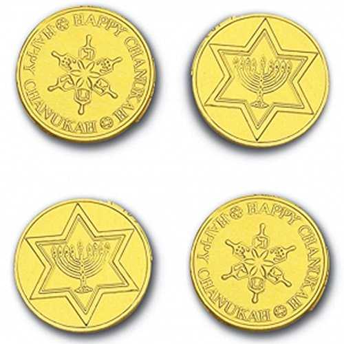 Madelaine Solid Premium Milk Chocolate Traditional Hanukkah/Chanukah Gold Coins Wrapped In Italian Foil - 6 Mesh Bags - Chanukah Bag