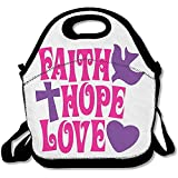 Starboston Xiisxin Faith Hope Love Lunch Tote Bag - Large & Thick Insulated Tote - Suit For Men Women Kids