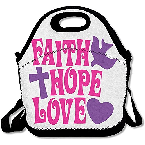 Starboston Xiisxin Faith Hope Love Lunch Tote Bag - Large & Thick Insulated Tote - Suit For Men Women Kids by Starboston