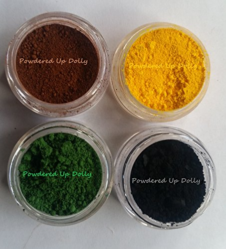 Lot of 4-10 grams By Volume SAMPLE MATTE CP MnP MP HP DIY Soap Cosmetic Making Pigment BLACK BROWN YELLOW GREEN Oxide Colorant Powder Set