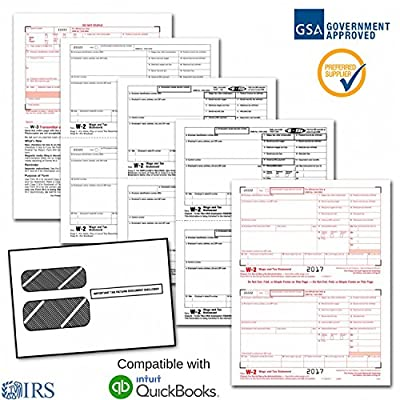 Employee W-2 Laser Forms (W2) (4-Part) Kit with Self Seal Envelopes for 25 Employees (2017) + 3 Free W-3 Transmittal Forms - IRS Aprroved