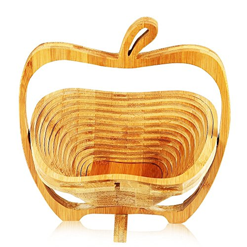 Collapsible Bamboo Fruit and Veggie Basket Expandable Natural Bamboo Fruit Bowl Flat Fruit Stores Holder/Dish/Container To-Go Food Containers (Apple)