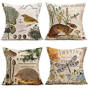 Throw Pillow Covers Adorable Animals Rabbit Hedgehog Bird Butterfly Decorative Pillowcases Set of 4 Cotton Linen Square Throw Pillow Case Home Couch Decor Cushion Cover 18