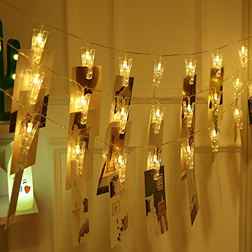 SuperDecor 30 LED Photo Clips String Lights Holder, USB Powered, 12ft Fairy Twinkle Wedding Party Halloween Christmas Decoration Lights for Hanging Photos Pictures Cards Artworks Memos, Warm -