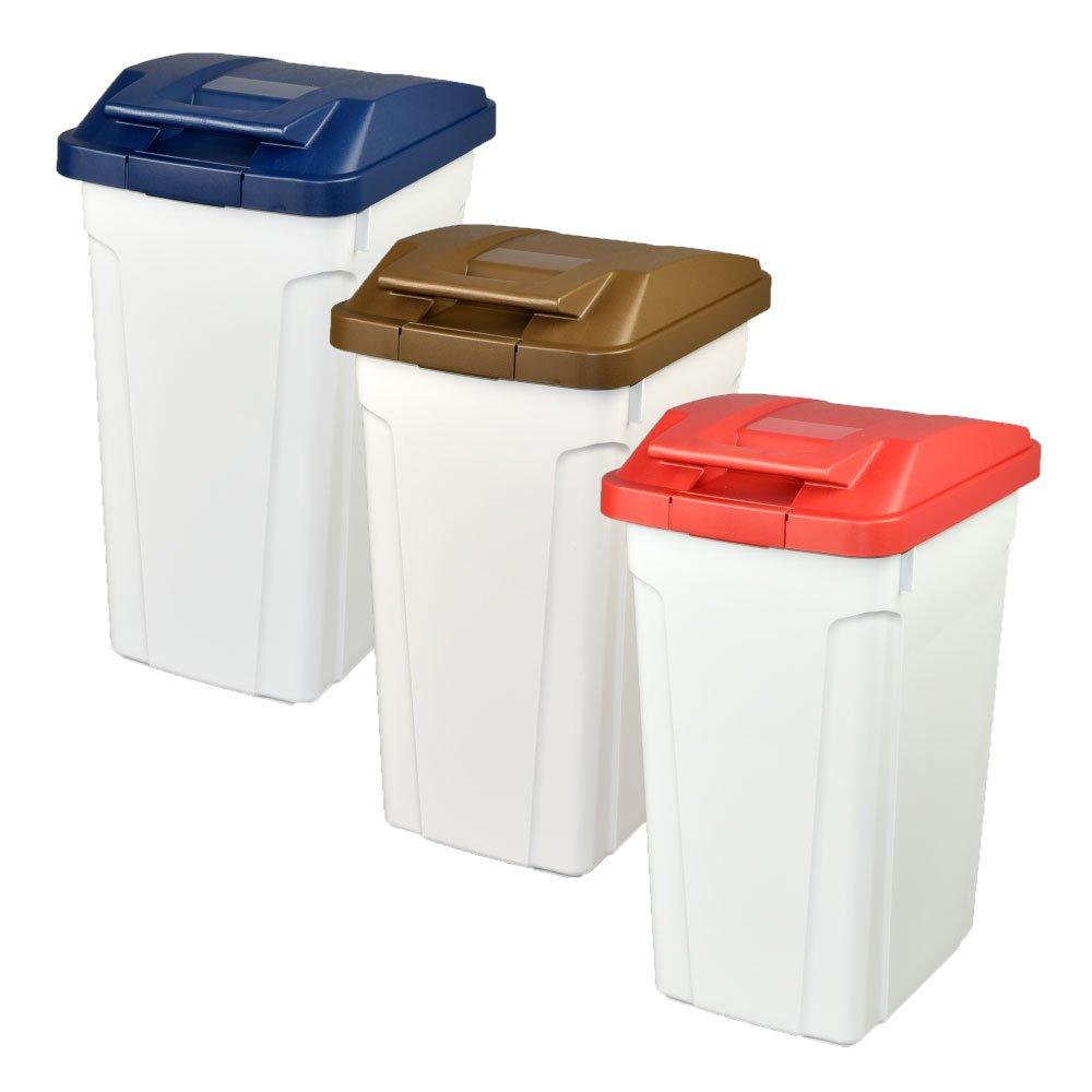 ASVEL ハンドルペール 35L 3個セット ゴミ箱 ごみ箱 ダストボックス おしゃれ ふた付き アスベル (ブルー×ブラウン×レッド) B07476BJF4 ブルー×ブラウン×レッド ブルー×ブラウン×レッド