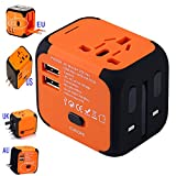Universal Travel Adapter, International Power Adapter with 2.4A Dual USB Ports Worldwide AC Wall Outlet and Safety Fuse for Europe, UK, AU, Asia & US (Orange)