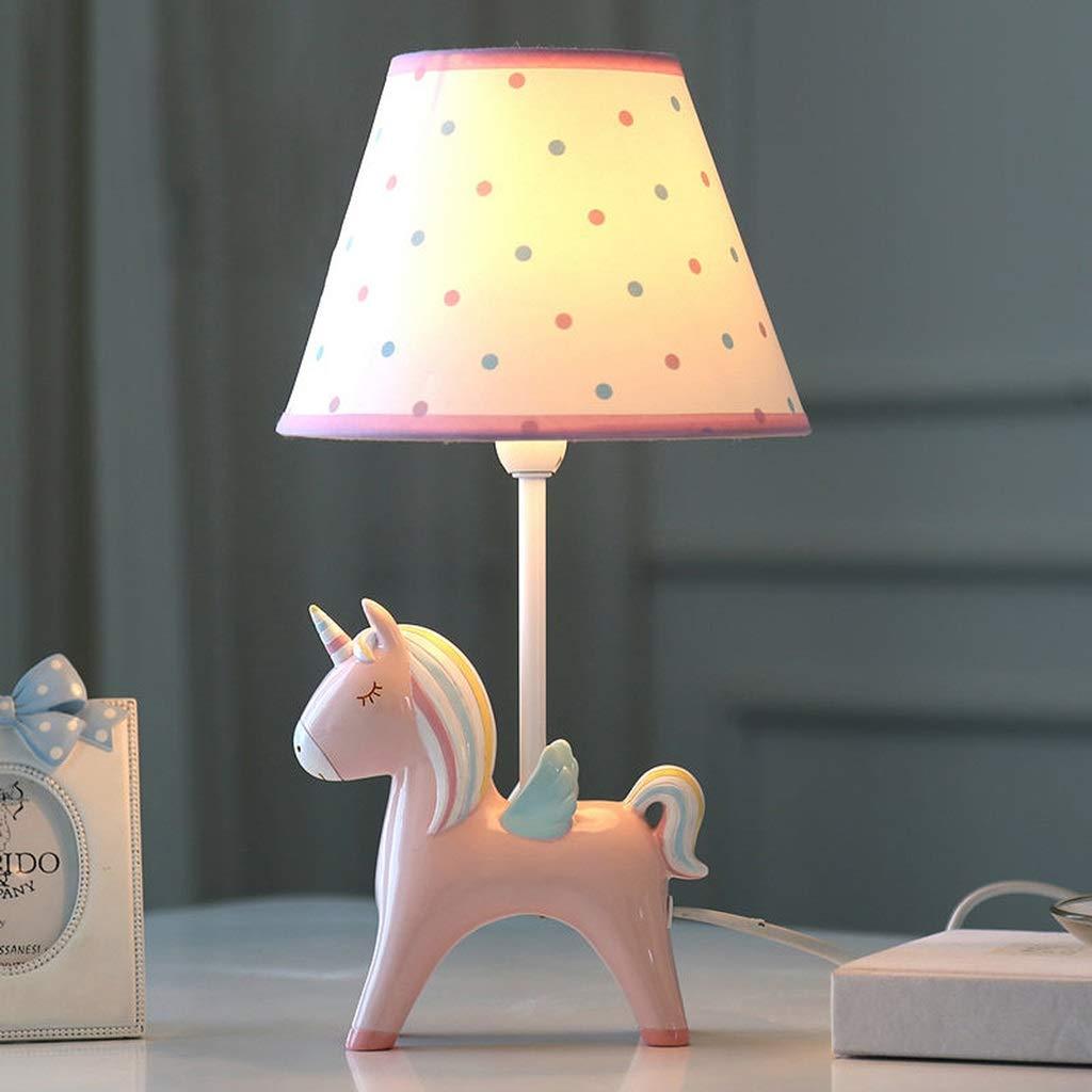Color : Pink SMC Kinderzimmer Cartoon Einhorn LED Tischleuchte Schlafzimmer Nachttischlampe Kreative Junge M/ädchen Nette Dekorative Tischlampe