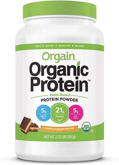 Orgain - Mantequilla de cacahuete del chocolate del polvo a base de plantas de la proteína orgánica - 2.03libras.