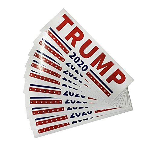 10 Pcs Keep America Great President Donald Trump 2020 Election Patriotic Bumper Sticker Auto Decal Conservative Republican (White)