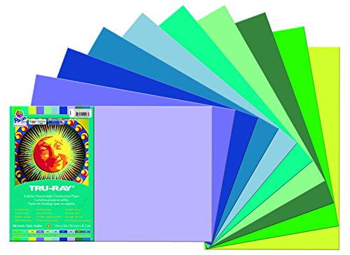 Pacon Tru-Ray Construction Paper Assortments, 12-Inches by 18-Inches, 50-Count, Cool Assorted (102943)