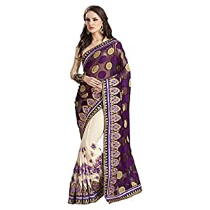 Shilp-Kala Faux Georgette,Chiffon Border Worked Cream Colored Saree SKN70012